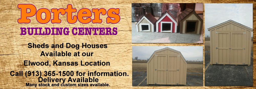 Picture of barns and dog houses available for sale at Porters Building Center, Elwood, Kansas.