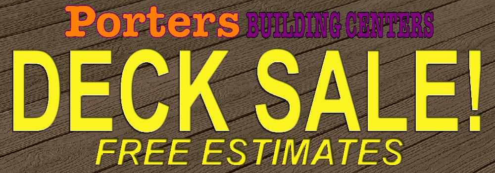 Porters Building Center Deck Sale Banner.