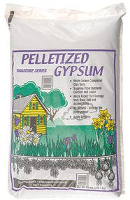 Bag of pelletized gypsum.